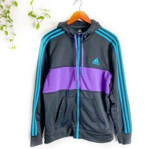 Adidas Zip Up Hoodie in Black with Purple and Teal